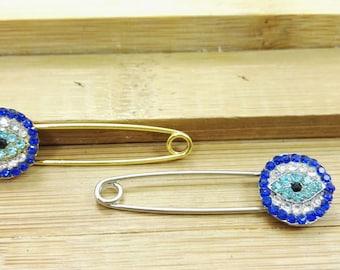 20 pcs  Evil Eye Safety Pins , Greek Evil Eye Safety Pins  ,   Turkish Evil  Eye ,  Evil,Eye Protection pins ,Wholesale Evil Eye Jewelry