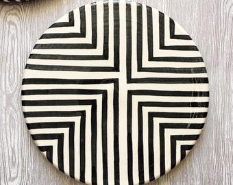 Graphic Platter - Offset Cross - Serving Platter / Serving Plate / Serving Dish / Decorative Plate / Wall Plate / Cheese Plate / Wall Decor