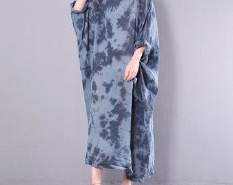 Women linen maxi dress Loose dress long dress vintage floral dress maternity dress travel clothing