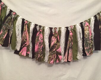 Pink Camo Fabric Garland/Pink Camouflage Decorations/Camo Baby Shower/Camo Bridal Shower/Camouflage Wedding Decor/Camouflage Party