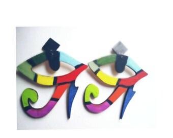 Multi color African eye of horus earrings