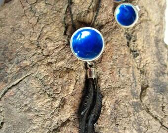 Pendant and earrings jet black pen. Pendant pen. handmade. fossil wood. featherweight Silver Pendant