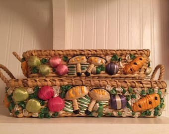 1960s Raffia Fruit Baskets