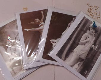 Vintage Postcard Upcycled Greetings Cards, Blank, with Envelopes. Pack of 4