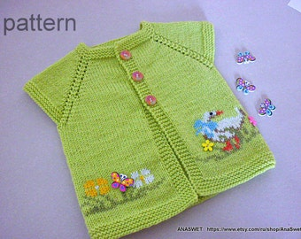Baby knitting patterns.Knitted baby cardigan,pattern PDF.Knit baby clothing.Pattern baby vest.Pattern baby clothing.