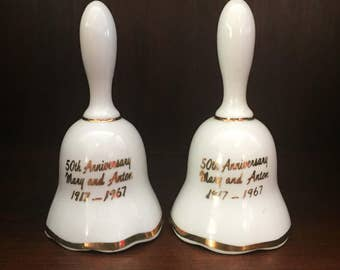 Vintage White Bells - Ceramic Bells for Crafts and Painting