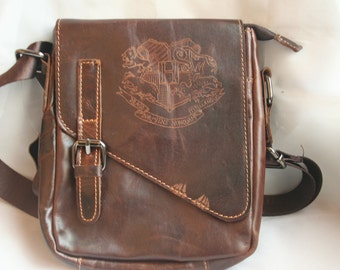 Fantastic Beasts and Where to Find Them inspired Small Leather Bag /Purse, Hand engraved with the escaping beasts Hogwarts Crest