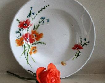 Vintage Floral Enamel Plate