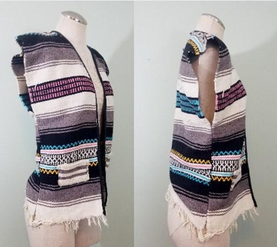 1970s Boho Serape Vest / Vintage, Handmade Mexican Blanket Vest / Modern Size Small / Men's, Women's, Unisex