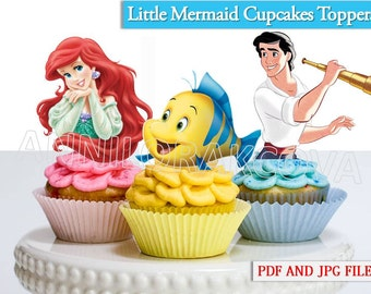 Little mermaid Cupcake Toppers/ Little mermaid Printables/ Ariel Cupcake toppers/ Flounder/ Instant Download/ You Print 60% OFF