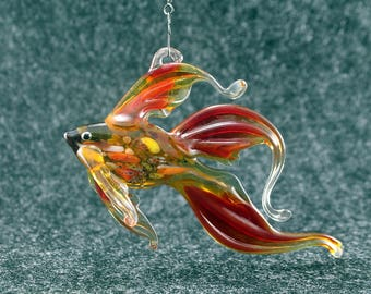 Stained glass suncatcher.art glass fish.home decor.glass fish.fused glass.fish ornament.glass suncatcher.fused glass fish.murano glass(fp5)
