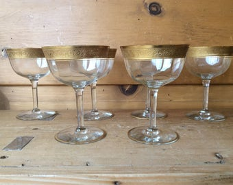 Antique Tiffin Minton Crystal Coupe Champagne Gold Encrusted Set of 6 Toasting Glasses