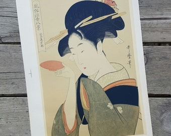 Lithograph from the print from Kitagawa Utamaro n4 vintage