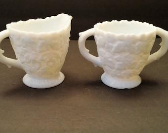 Westmoreland Milk Glass Bramble/Maple Leaf Sugar and Creamer Set