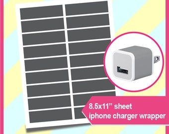 "iPhone Charger Wrap Template, PSD, PNG and SVG Formats,  8.5x11"" sheet,  Printable 046"