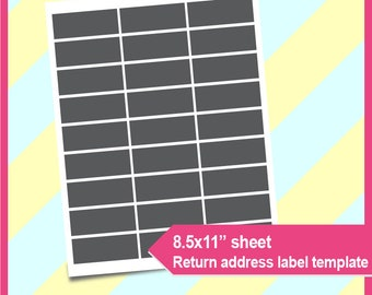 "Return Address Label Template, PSD, PNG and SVG Formats,  8.5x11"" sheet,  Printable 016"