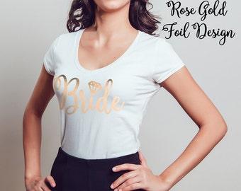Bride Shirt Rose Gold Foil, V-Neck, T-Shirt, Gift for Bride, Bridal Party Shirts, Wifey, Bridesmaid, Gold, Bridal Shower, Bachelorette Gift