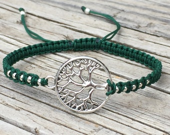Tree of Life Bracelet, Tree of Life Anklet, Adjustable Cord Macrame Friendship Bracelet, Tree of Life Jewelry, Macrame Jewelry, Gift for Her