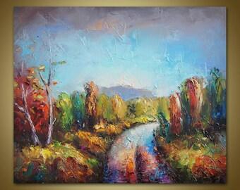 PALETTE KNIFE Landscape Painting, Original Oil Painting, Autumn landscape, Canvas Painting, Canvas Wall Decor, Kitchen Decor, Abstract Art
