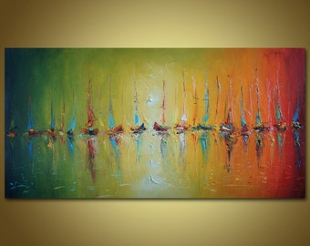 Colorful Painting Sailboats, Large Abstract, Original Oil Painting, Abstract Art, Seascape, Large wall Decor, Original Artwork, Canvas Art