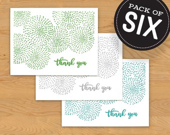 """Box of 6 Thank You Card """"Dots"""" Multicolor Color A2"""