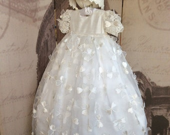 Christening gown with bonnet-baptism-Holy presentation-BUTTERFLY