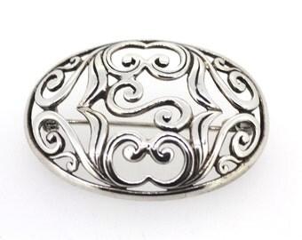Vintage Silver Brooch / Antique Silver Brooch / Floral Brooch / Flower Styling Brooch / Sterling Silver Brooch / Silver Oval Brooch