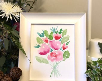 ORIGINAL watercolor painting, floral bouquet, 8x10