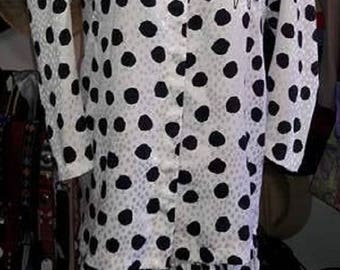 1980's 2 Piece Polka Dot And Flowered Outfit By Cheminee Of New York Size 9/10