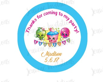Shopkins Birthday Stickers,Gift Tags, Party Favors, Birthday Stickers, Personalized,Party, Decorations, Custom Stickers - Set of 12 Printed