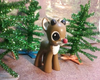 """OOAK Custom My Little Pony """"Roudolph the Red Nosed Reindeer"""".  From  the Stop Motion Animated Chistmas Special."""