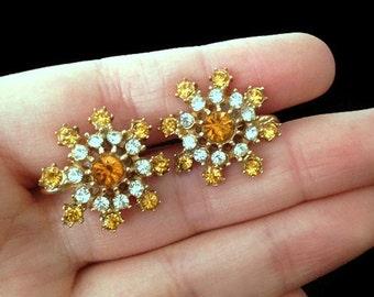 Snow Flake Earrings - Aesthetic Jewelry - Earrings - Topaz - Yellow -Orange - Beautiful Vintage Screw Back Earrings - Christmas Earrings