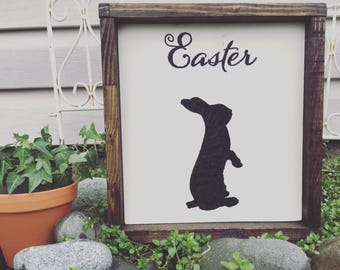 Easter Bunny Wood Decor- Wall Hanging or Statement Piece - seasonal decor - farmhouse style