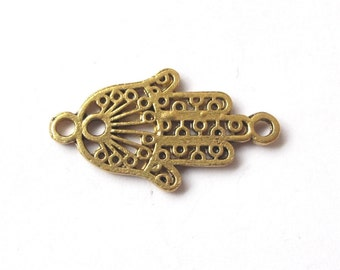 Gold or silver Hamsa hand connector 27x15mm (2 pieces)