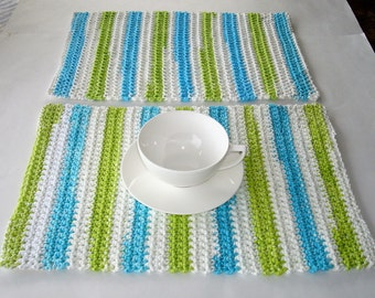 Crocheted Placemats, Green, Blue and White Placemats, Crochet Rectangle Placemats, Handmade Placemats, Cotton Placemats, Set of Two