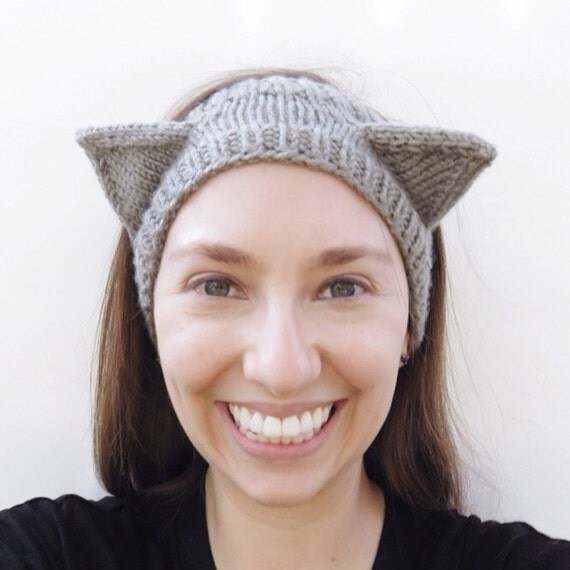 Cat Kitty Ears Headband/ Ear Warmer, Available in Newborn to Adult sizes, Great Gift for Cat Lovers! Hand knit, Made To Order