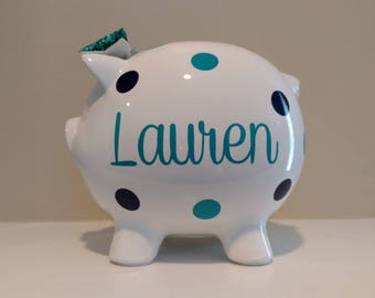 Personalized Piggy Bank.Custom Piggy Bank.Baby Shower Gift.Piggy Bank.Girl Piggy Bank.Boy Piggy Bank.Girl Bank.Turquoise and Blue Piggy Bank