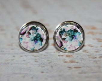 Round Glass Cabochon Stud Earrings 12mm Watercolour Floral Pattern Hypo Allergenic Surgical Steel Nickel Free