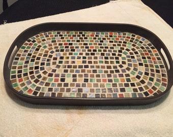 Earthtone Brown Mosaic Serving Tray