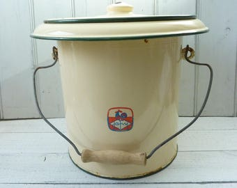 Vintage French Farmhouse buttermilk with green trim enamel pail bucket with lid.