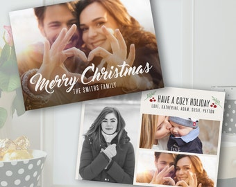 Christmas Card Template - Christmas Photo Card - Photoshop Template - PSD *INSTANT DOWNLOAD*