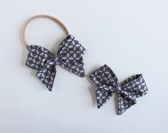 "Gray Eclipse Fabric ""Dahlia"" Bow"