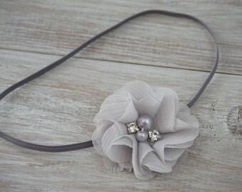 Rhinestone Flower skinny elastic Headband