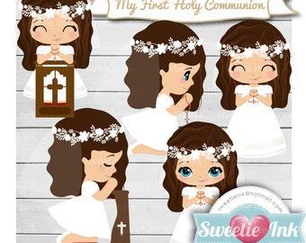 Clipart First Communion Girl Kawaii 5