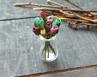 Miniature Glass Vase with colourful Roses