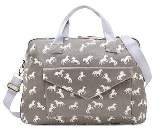 Oilcloth Overnight Bag Horse bag horse print Teenage girl Travel Weekend Duffel bag Baby bag Nappy bag Diaper bag Carry on bag Oil cloth bag