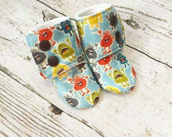 Little Monsters Baby Stay on Booties /  Baby Slippers / Baby Shoes / Babywearing Booties / Toddler Booties / Toddler Slippers