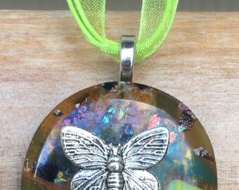 Butterfly glass pendant