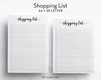 Shopping List, A4 Printable, Planner Printable, A4 Inserts, Shopping Organizer, Grocery list, To Do List, Shopping Tracker, A4 Binder