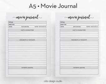 Movie Journal, A5 Planner Inserts, Movie Printable, Movie List, Movie Review, Film Planner, A5 Planner, Movie Tracker, Printable Planner